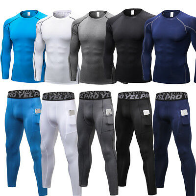 Compression Baselayer Tights Mens Sport Pants Shirt Fitness Running Cool dry Top