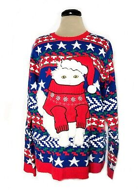 Kitten Christmas Sweater.Ugly Wow Christmas Sweater Santa Cat White Kitten Cute Tacky