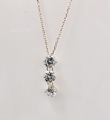 3Ct Round Cut 14K Yellow Gold Diamond Drop Pendant Necklace Cable Chain Ladie's