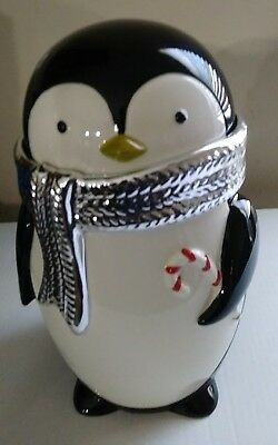 "Bath And Body Works Penguin Christmas Cookie Jar 12.5"" High"