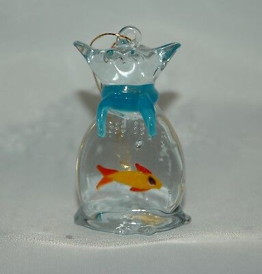 Glass Cat & Fish Ornament