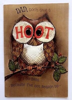 Vintage Hallmark Birthday Card Owl Tree Wood Hoot Eye Die Cut Dad Embossed Vtg
