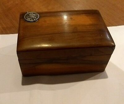 A Nice Treen Trinket Box With Religious Coin