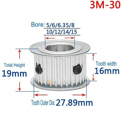Timing Belt Pulley 3M30T Synchronous Wheel Pitch 3mm Bore 5-15mm For 15mm Belt