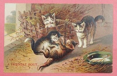 """Dr Who 1910 Pc Cats """"a Friendly Bout"""" Embossed Postcard #22 19757"""