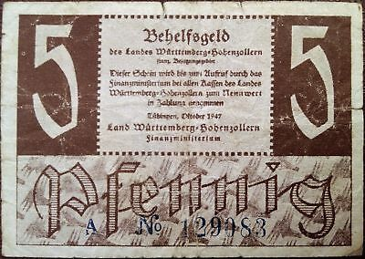 Germany banknote - 5 pfennig - year 1947 - emergency note - free shipping - RARE