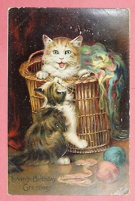 Dr Who 1907 Pc Cats In Basket Tuck Embossed Postcard #34 Carlisle Ny 19771
