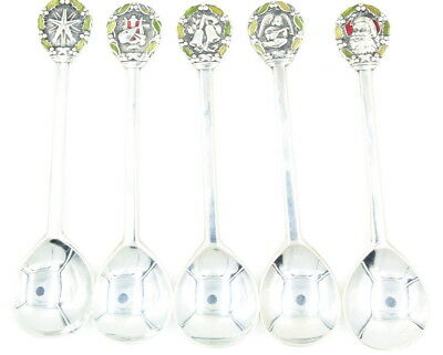 Lot Of 5 Vintage Gorham Sterling Silver Enameled Christmas Spoons 1971-1975 Nr