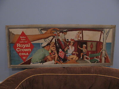 Royal Crown RC Cola trolley/bus sign. People enjoying RC on boat. Late 1950's.