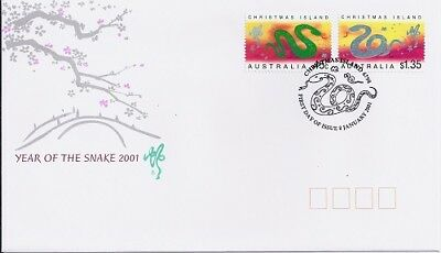 2001 Christmas Island - Year of the Snake First Day Cover FDI
