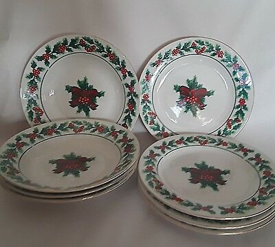 Gibson Christmas Charm Holly and Berry Cups Soup Cereal Bowls SALAD PLATES 8 Pcs