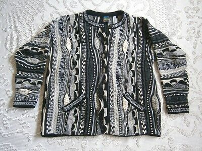 Vintage 80s Mens Unisex Coogi Style 3D Knitted Wool Sweater Cardigan Jumper! XXL