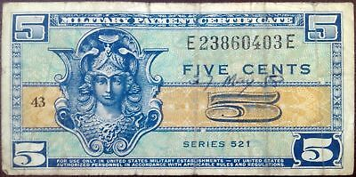 US Military Payment Certificate - 5 cents - year 1954-1958 - Series 521 - rare