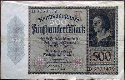Weimar Germany banknote - 500 mark - year 1923 - second issue - Jakob Meyer