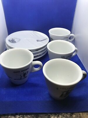 Bialetti Espresso Cups And Saucer Set, Set Of 4, New In Box