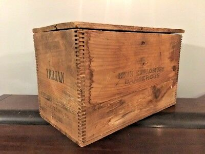 Vtg Trojan Powder Co Antique High Explosives Dynamite Wooden Crate Allenstown PA