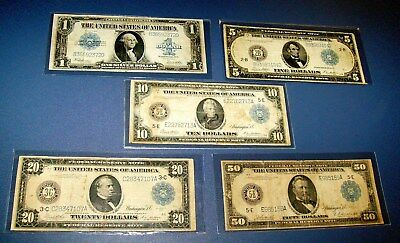 5 Large Size 1914 & 1923 One $1 $5 $10 $20 $50 FIFTY DOLLAR Grant Note Currency