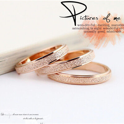 Fashion Stainless Steel Rose Gold Silver Frosted Women Wedding Band Ring Sz5-13
