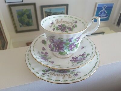 Vintage Royal Albert Flower of The Month February Violets teacup trio set
