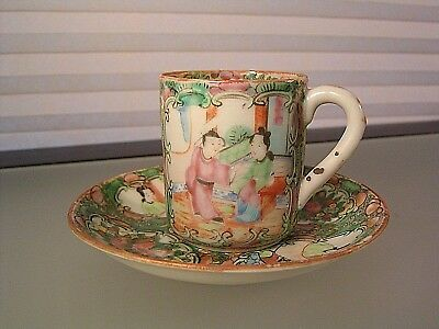Antique Chinese Export Porcelain Famille Rose Mandarin Tea Cup Set