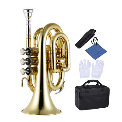 ammoon Mini Pocket Trumpet Bb Flat Brass with Mouthpiece Carrying Case US T6H9