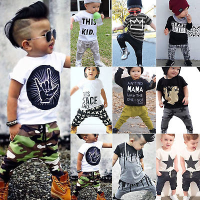 Toddler Kids Baby Boys T-Shirt Tops Tee Harem Pants Sports Outfits Sets Clothes