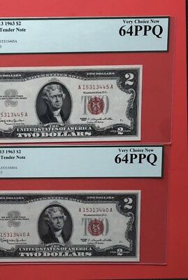 1963-2 Notes Of Us $2 Red Seal Legal Tender,graded By Pcgs 64 Ppq.