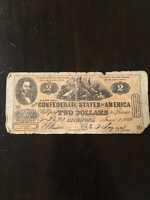 1862 Confederate States of America $2 Two Dollar Civil War Note Prob 1960s Redo