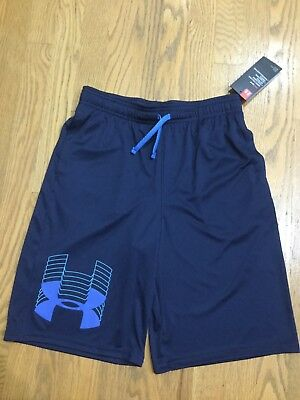 NWT UNDER ARMOUR HeatGear Big UA Logo Basketball Athletic Short KID Sz boy L new