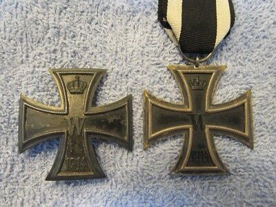 WW I German Iron Crosses First and Second Class ORIGINAL 100 Years Old