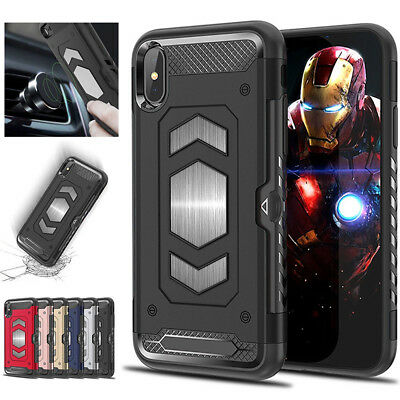 Fits iPhone X 7 8 Plus Rugged Hybrid Magnetic Shockproof Card Holder Case Cover