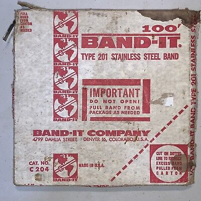 """Band-it C204 Band, 201 Stainless Steel, 1/2"""" Inch Wide, 0.030"""" Thick, ~80' Feet"""