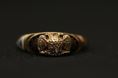 Antique 14k Gold Masonic 32 Degree Scottish Rite Double Eagle Ring Sz 6 ca 1920s