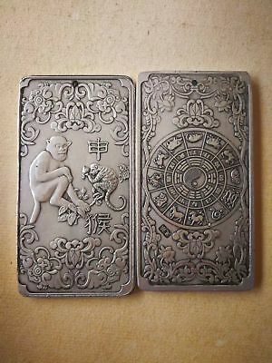 Old Chinese tibet Silver Chinese Zodiac monkey Bullion thanka amulet thangka