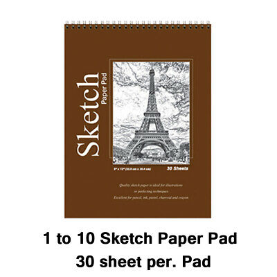 "Spiral Sketch Pad Book 9"" x 12"" Art Drawing Paper 30 sheets pencil pastel ink"