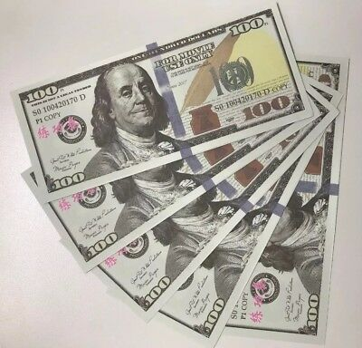 100 Dollar Prop Money Full Print US $500 Bills Movie Christmas White Elephant $