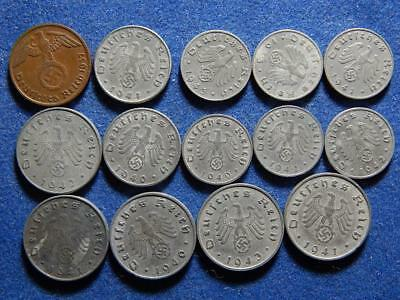 Lot OF 14 WW2 German Reich WAR Coins With SWASTIKA , WW11,