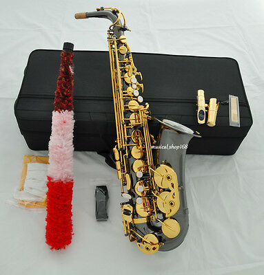 Top Black Nickel gold Eb Alto Saxophone sax high F# Metal Mouthpiece with case