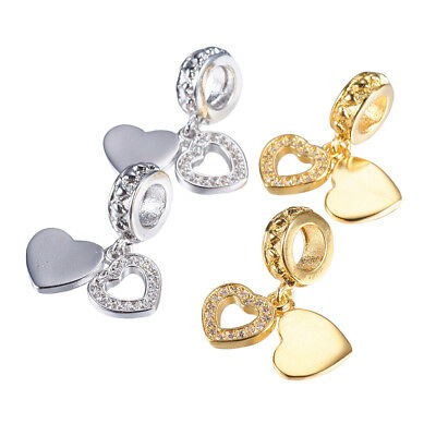 20pcs Brass Pave Cubic Zirconia European Dangle Beads 2 Hearts Loose Charms 20mm