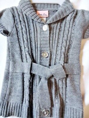 Baby Girl 12mo Gray Cardigan Sweater with Glitter Buttons Little Lass EUC