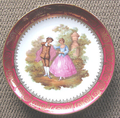 Limoges R.Sechet Plate and Stand France Courting Couple ~ 23cm
