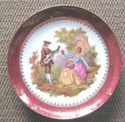 Limoges R.Sechet Plate and Stand France Courting Couple With Instrument ~ 22.5cm