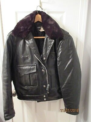 Harley-Davidson Motorcycle Black leather winter police Jacket 42 Outdoor Outfits