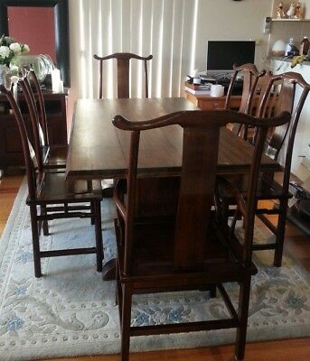 Dining Table and Chairs Chinese Antique Rose wood
