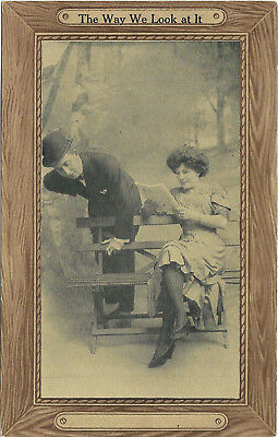 DB postcard, romance, comic, The Way We look at it, couple sitting on bench