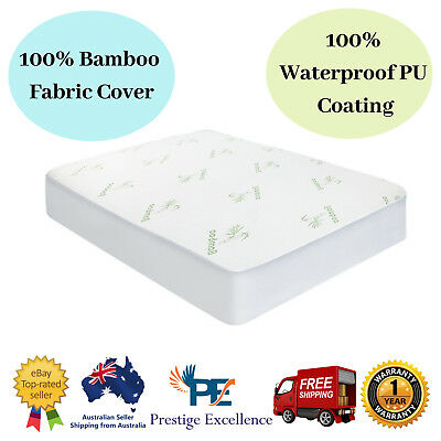 Giselle Bedding Fully Fitted Bamboo Waterproof Mattress Topper Protector Queen