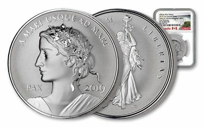 2019 Canada Peace & Liberty UHR NGC PF-70 FR 1 oz 9999 Silver Reverse Proof Coin