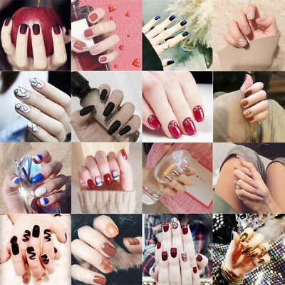 24pcs Artificial False Nail Tip Acrylic Design Fake French Full Nails Art Set