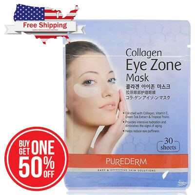Purederm Collagen Eye Zone Mask Pack Pad Patch 30 Sheets (1Pack) Ship from USA