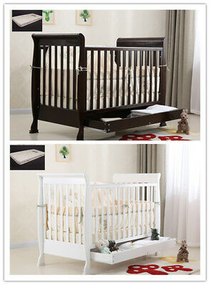 New 3 in 1 Sleigh Wooden Baby Infant Cot Toddler Bed Sofa Walnut/ White Mattress